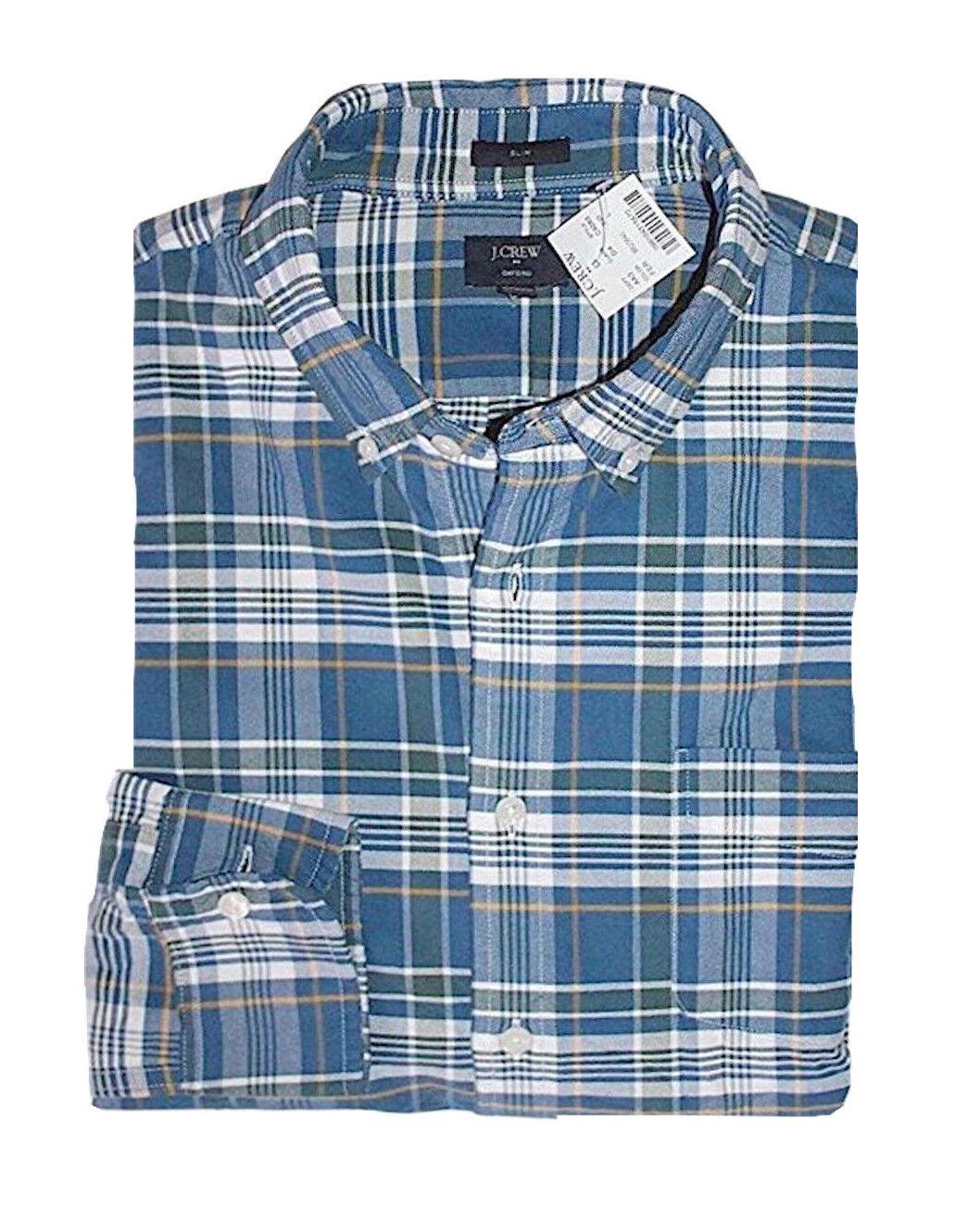 J Crew Factory - Mens M - Slim Fit bluee Plaid Button-Front Oxford Cotton Shirt