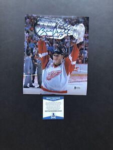 Autographed//Signed Brett Hull HOF 2009 Detroit Red Hockey Jersey Beckett BAS COA