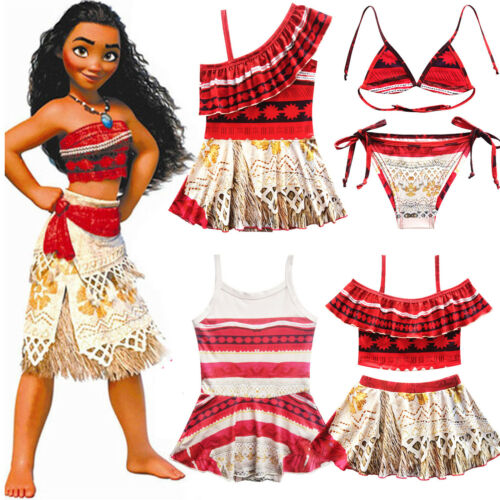 Baby Kids Girls Moana Trolls Character Swimwear Swimming Costume Swimsuit Bikini