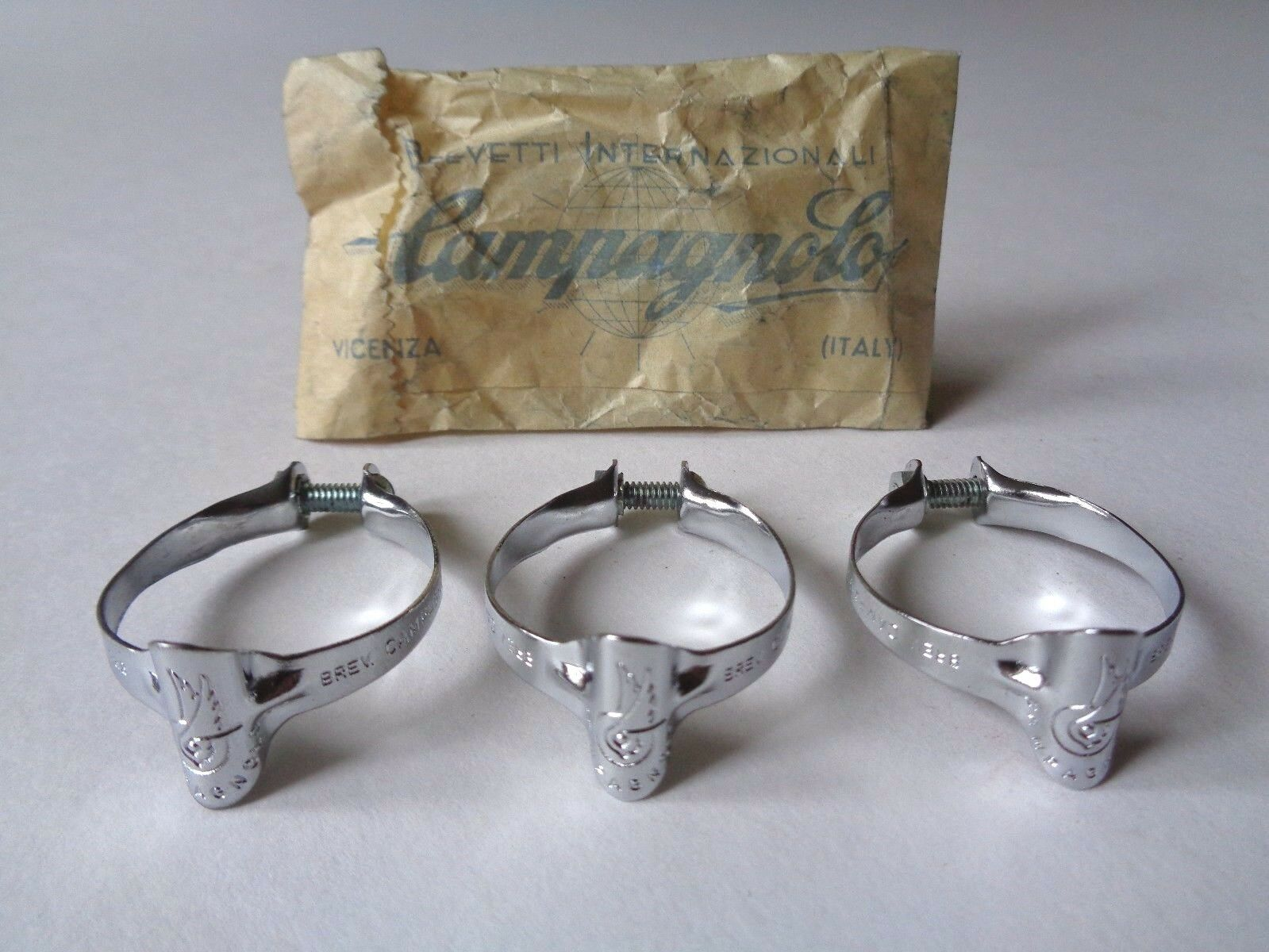Rare NOS Vintage 1960s Campagnolo steel top tube brake cable clips (set of 3)