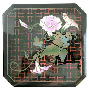 Toyo-Japan-Lacquerware-Set-of-6-Coasters-in-Box-Black-w-Pink-Flowers-VTG-EUC