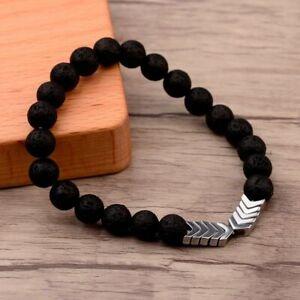 Lava-Stone-Bracelet-Black-Volcanic-Healing-Bangle-Hematite-Arrow-Anti-Anxiety
