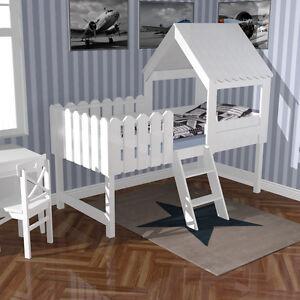 Kinderbett baumhaus selber bauen  Hausbett BAUMHAUS Hochbett Spielbett Holz weiß 90x200cm umbaubar UVP ...