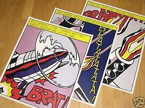 3-x-Roy-Lichtenstein-034-as-I-Opened-Fire-034-Poster-Set-Triptychon-Popart-in-Mint