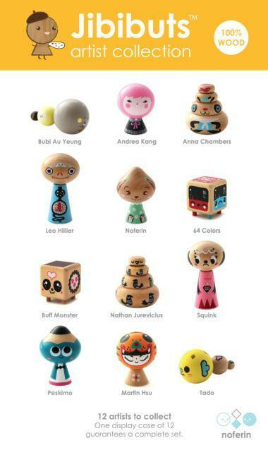 FULL CASE SET OF 12 JIBIBUTS ARTIST SERIES WOODEN BLINDBOX FIGURES NOFERIN