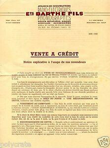 Publicité Lettre note explicative vente à crédit Barthe radio Phono mai 1948 QxI5jDLz-08123431-249763487