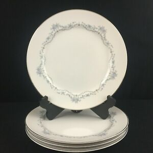 Set-of-4-VTG-Dinner-Plates-by-Mikasa-Chadsworth-Jyoto-Blue-Floral-8273-Japan