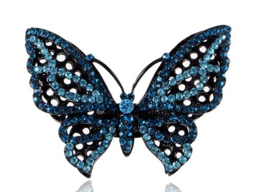 Fashion Water Blue Crystal Rhinestone Butterfly Costume Fashion Adjustable Ring