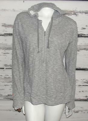 LUCY ACTIVEWEAR~HEATHERED GRAY *HOODED 1/4-ZIP PULLOVER* RUNNING WORKOUT TOP~L