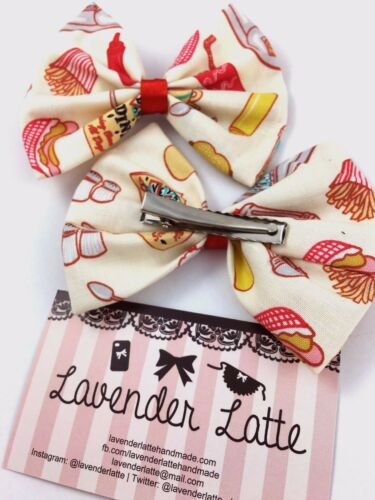1950s Diner Food Fabric Hair Bow  Pin Up 50s Inspired Hair Clip