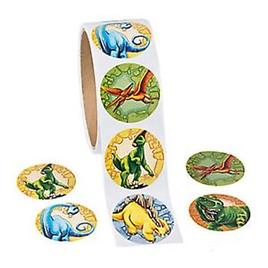 DINOSAUR-PARTY-Stickers-T-Rex-Stegosaurus-Party-Favours-Pack-of-50-Free-Postage