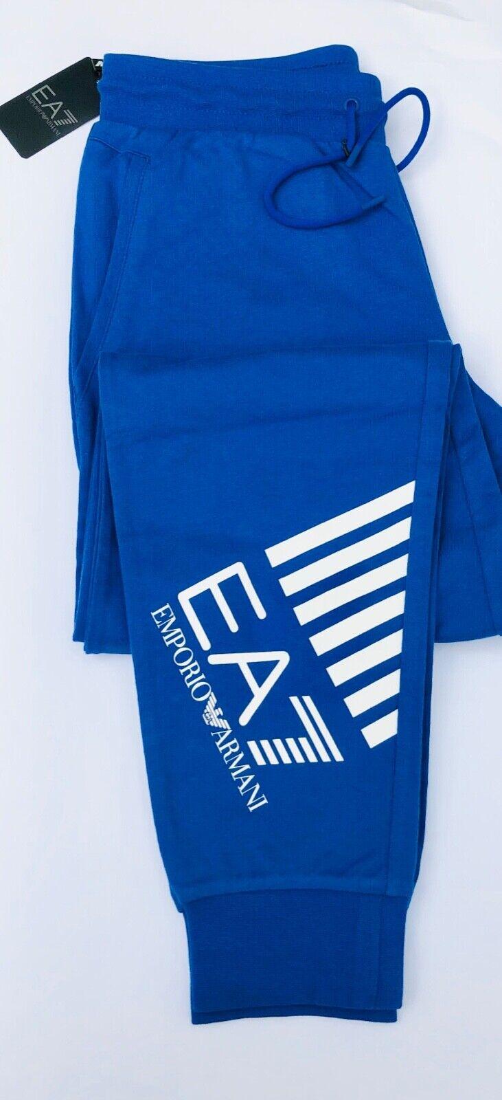 EMPORIO ARMANI EA7 Blue Joggers EA7 Large Graphic Leg Logo Size S BNWT