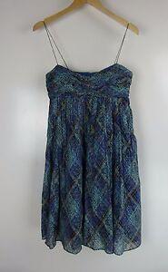 MORRISSEY-AUSTRALIA-Dress-Sz-1-Blue-brown-black-print-Cotton