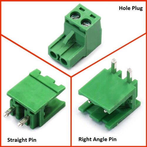 10×5.08mm PCB Pluggable Terminal Block Screw Connector 2P-16P 90 Angle//Straight