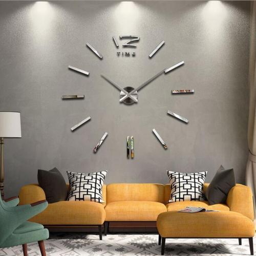 3D Home Decor Quartz DIY Big Wall Clock Living Room Metal Acrylic Mirror
