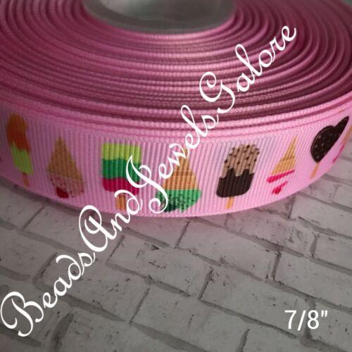 "Ice cream ribbon inspired Ice cream grosgrain candy ice cream bows-7//8/"""