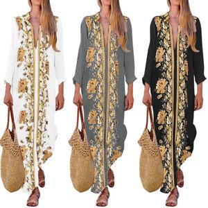 ZANZEA-Womens-Floral-Long-Sleeve-Split-Shirt-Dress-Ladies-Maxi-Dresses-Kaftan