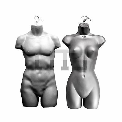 FULL HANGING FEMALE & MALE (PAIR) MANNEQUIN TORSO BODY FORM DISPLAY BUST (SHELL)