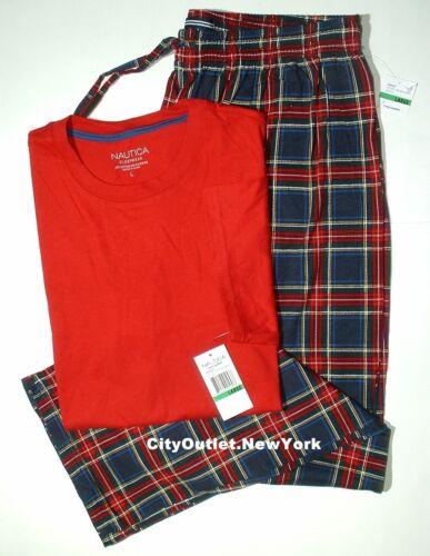NAUTICA Sleepwear Men/'s Sz L Pajamas Set Short-Sleeves Knit Long Pant NWT
