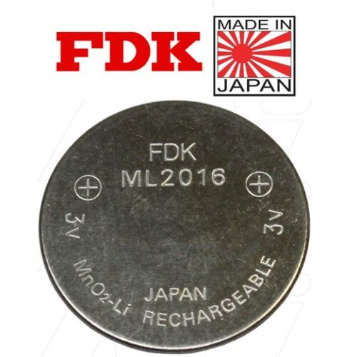FDK ML2016 Rechargeable 3V Lithium Coin Cell Battery 500 Cycles MADE IN JAPAN