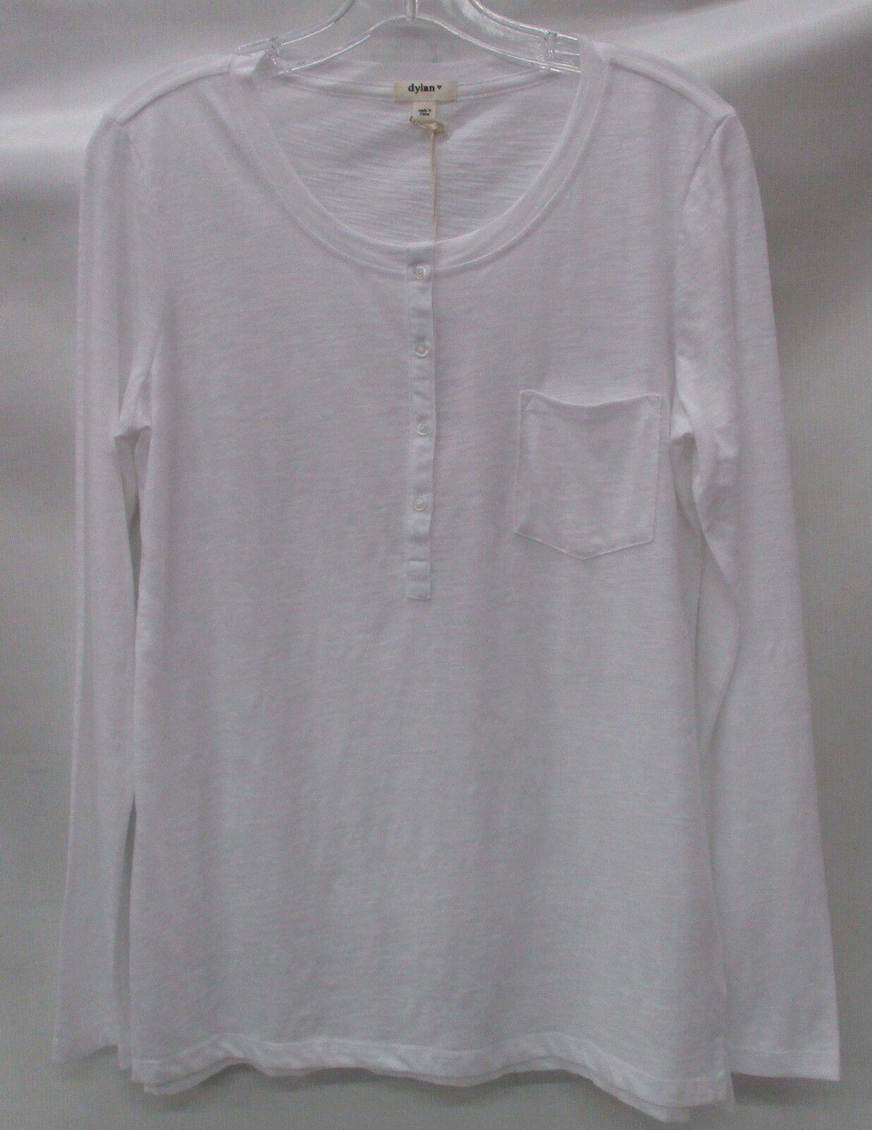 Dylan damen Slub L S Pocket Henley Shirt 71W47GC Weiß Größe Large