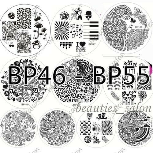10Pcs/Set BORN PRETTY 46-55 Nail Art Stamping Image Plate Template Stamp Stencil
