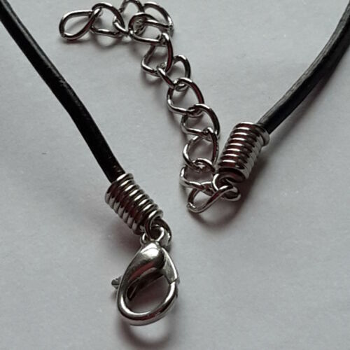 """4MM BLACK REAL LEATHER   NECKLACE CORD THONG CHAIN WITH LOBSTER CLASP  14-18/"""""""