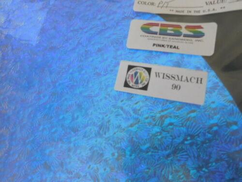 "Dichroic Glass:CBS 90COE Pink//Teal on Florentine Textured Clear 3/"" Sq"