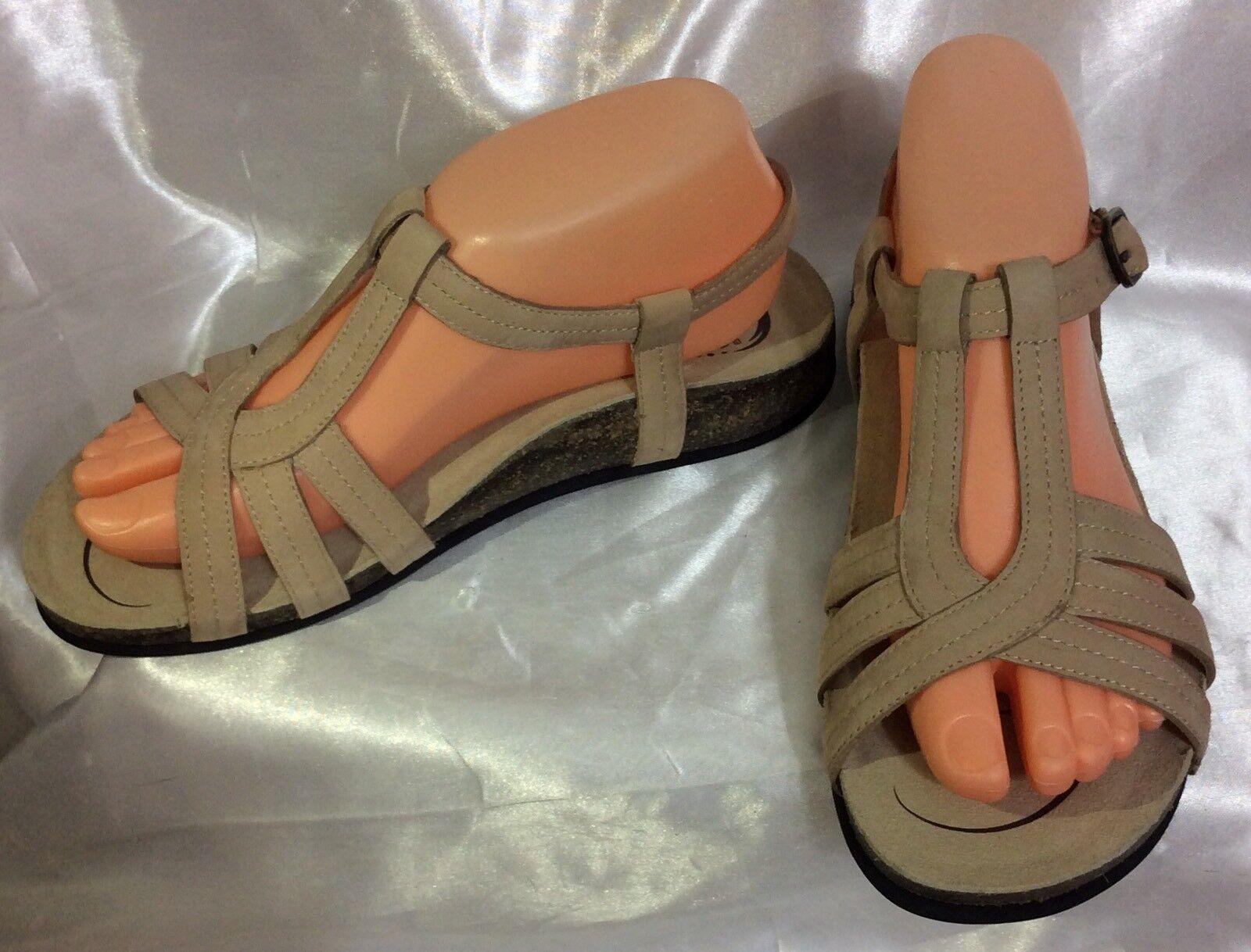 Abeo BARA Bio System Biege Leather Strappy Strappy Strappy Cork Sole Women's Sandals sz 8N bd8d26