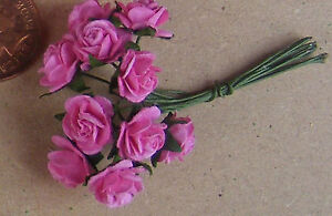 1-12-Scale-1-Bunch-10-Flowers-Of-Pink-Paper-Roses-Tumdee-Dolls-House-D