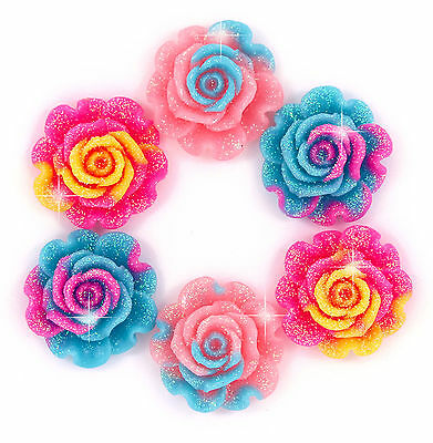 6 x Cute Rainbow Sparkle Rose Flower Flat Back Cabochons Craft Decoden Kawaii