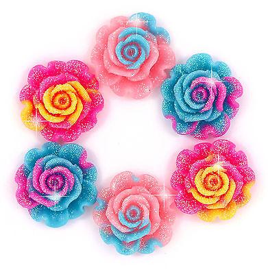 6 x Cute Rainbow Sparkle Rose Flower Flat Back Cabochons Craft Decoden Kawaii