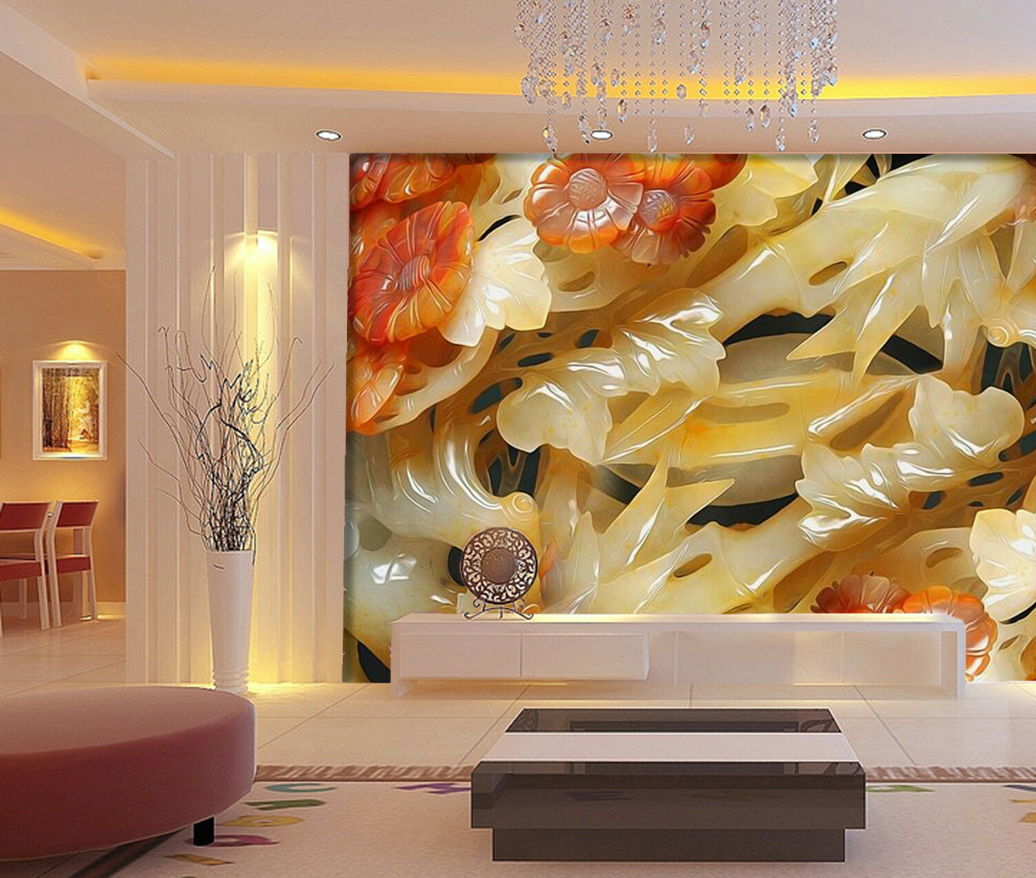 3D Jade Flower 80 Wallpaper Mural Wall Print Wall Wallpaper Murals US Lemon