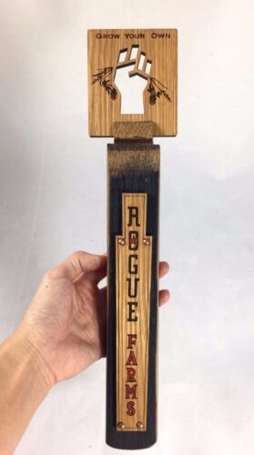 ROGUE Farms Oregon Brewed Oak Wooden Beer Tap Handle 14""