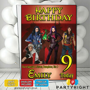 Image Is Loading Personalised Disney Descendants Birthday Card Any Age