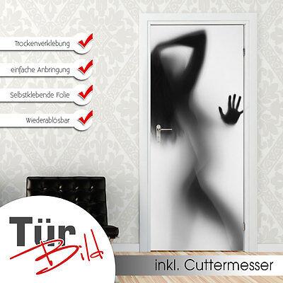 Türbild Türaufkleber Türfolie für Badezimmer Frau Silhouette sexy nackt Glas
