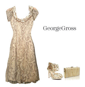 3814546730 Image is loading George-Gross-Gold-toned-Silk-Special-Occasion-Dress-