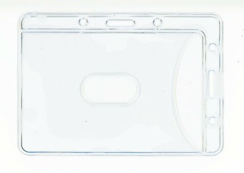 x12 2-in-1 Universal Vertical Horizontal BADGE ID OFFICE CARD HOLDER CLEAR New
