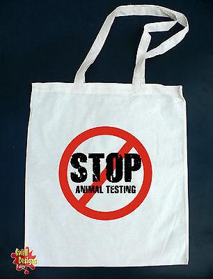 STOP ANIMAL TESTING animal rights vegan vegetarian cotton Tote shopper Bag
