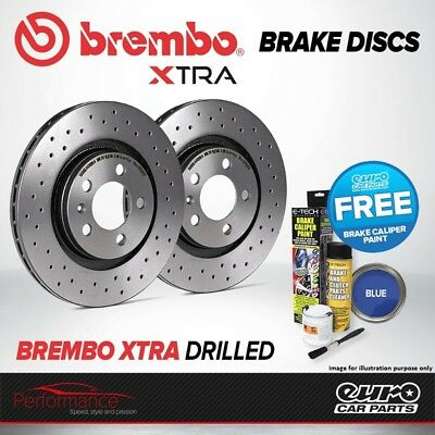 Brembo Xtra Front Vented High Carbon Drilled Brake Disc Pair Discs x2 09.7701.1X