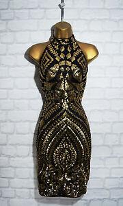 TYLER-Black-Gold-Sequin-Halterneck-Bodycon-Evening-Mini-Party-Dress-8-10-12-14