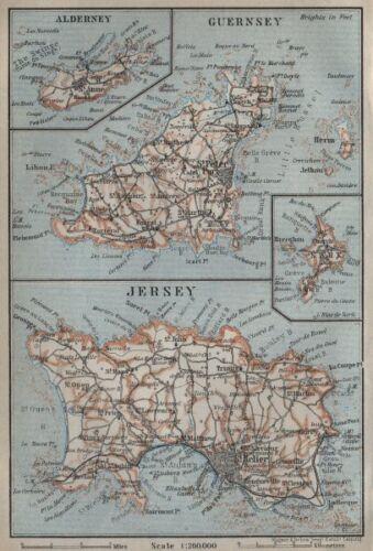 BAEDEKER 1927 old map THE CHANNEL ISLANDS Guernsey Jersey Alderney Sark
