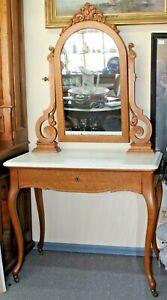 Old Victorian Antique Marble Top Oak Vanity W Tilting Mirror 1