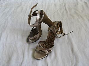 GRACELAND-Damen-Schuhe-Pumps-Riemchen-Gr-38-US-7-women-high-heel-leopard-motif