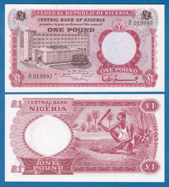 NIGERIA 1 Pound 1967 Pick 8 UNC