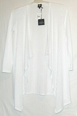 IVORY LONG SLEEVES BOBEAU STRIPED OPEN FRONT CARDIGAN WOMEN/'S SIZE Medium NEW