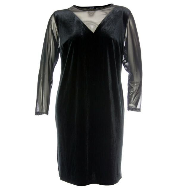 Spense 18w Black Dot Burnout Long Sleeve Illusion Dress Ship Plus ...