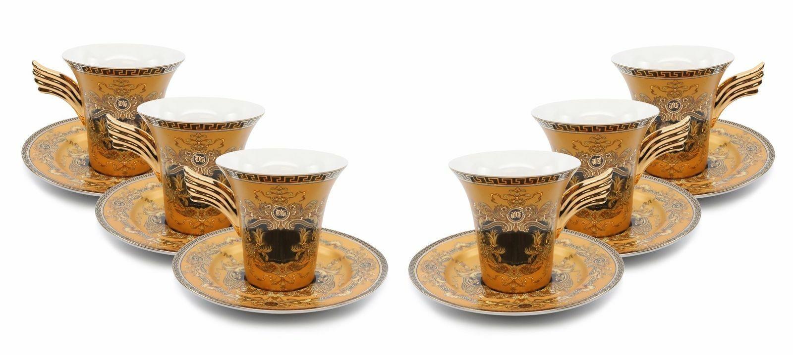 Royalty Porcelain 12-pc or Tea Set, service pour 6, Medusa Grec Clé, Or 24K