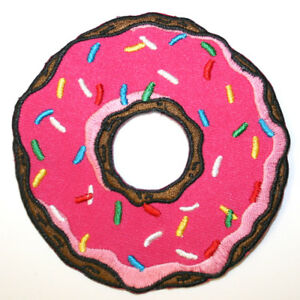 Pink-Donut-Iron-On-Patch-Embroidered-Sew-On-Doughnut-Junk-Food