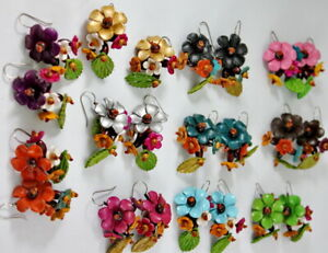 Handmade-Flower-Earrings-Fashion-Genuine-Leather-Jewelry-Drop-Dangle-Leaf-Cute